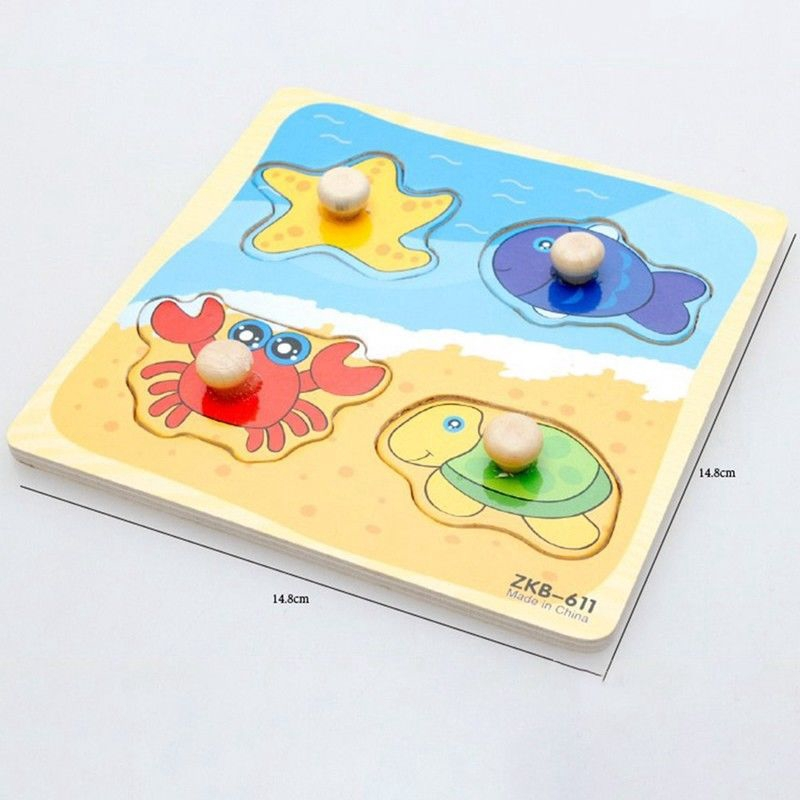 Cartoon Wooden Brick Puzzle Jigsaw Baby Toddler Early Learning Educational Toys