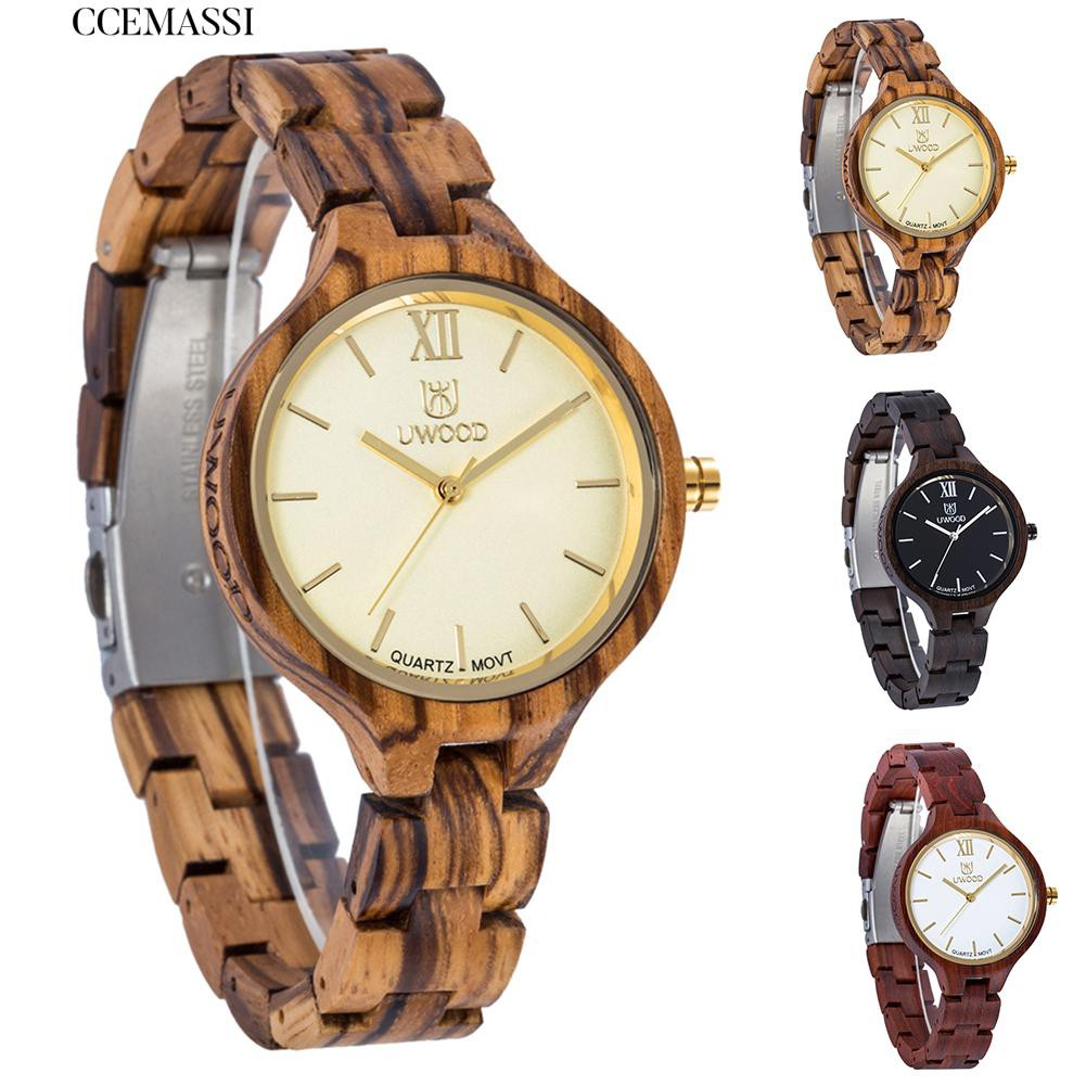 Casual Wooden Dial Linked Strap Analog Quartz Wrist Watch