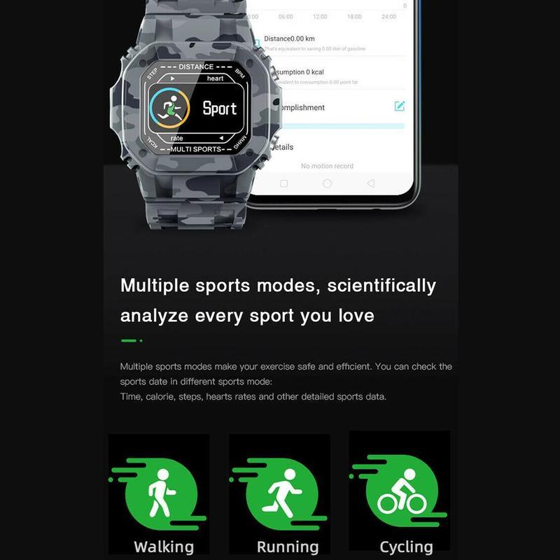 Đồng hồ thông minh I2 hỗ trợ đo nhịp tim/huyết áp/thông báo với kháng nước IP67