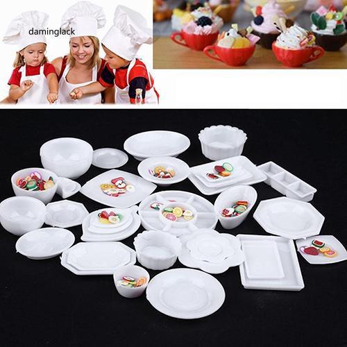 DMGK_33 Pcs Kitchen Dinner Mini Tableware Set Miniatures Cup Dish Ornaments Decor