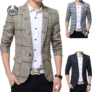 Tiale Men Fashion Slim Fit Grid Pattern Jacket Outwear