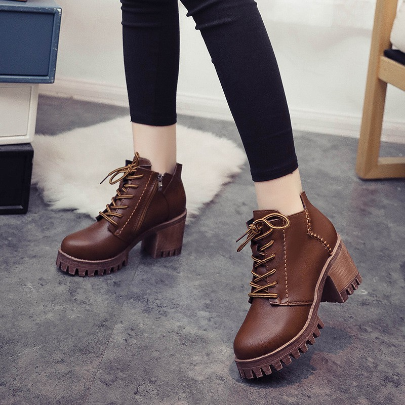 Giầy boot martin cao gót giầy nữ đế cao LT0954