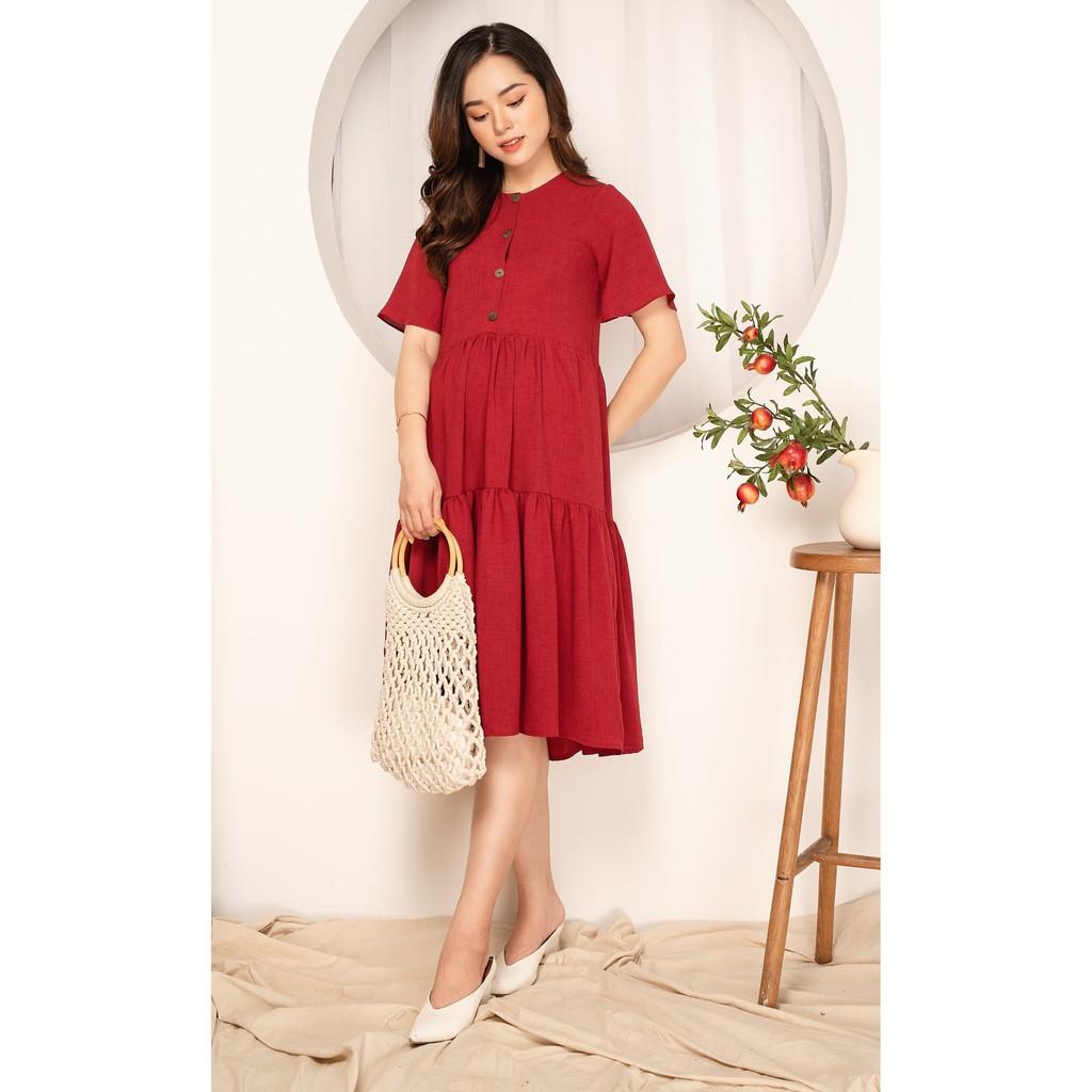 [Mã FATHANG5 giảm 10K đơn 50K] Váy bầu đẹp Lisa chất đũi Hàn mềm mát có đủ size cho mẹ bầu và sau sinh by