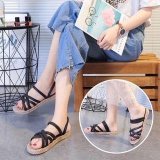 3K02 Sandal cao su 6 quai giầy dép thể thao nữ thời trang đế cao su đi làm đi chơi trong nhà êm chân