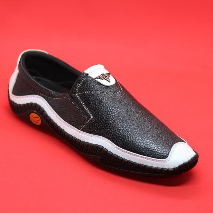 Giày lười da bò nam đen viền trắng BH 12 tháng