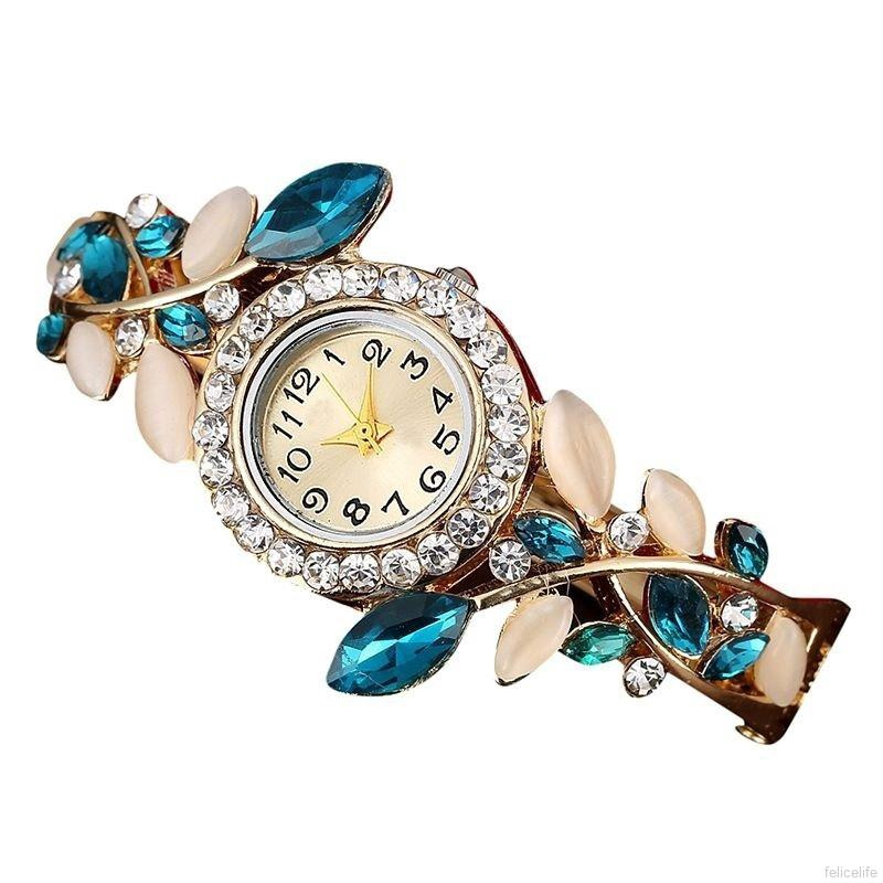 Đồng hồ đeo tay thạch anh đính đá lấp lánh xinh xắn cho nữ