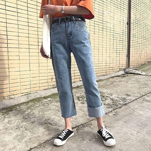 Quần jeans xoắn gấu ulzzang