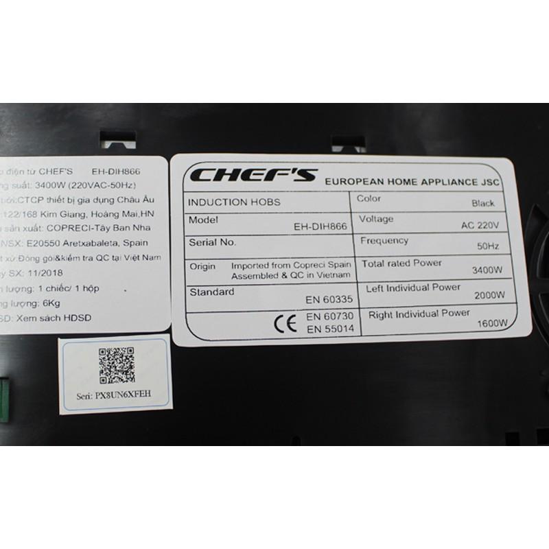 MUA BẾP TỪ CHEFS DIH866 + TẶNG NGAY MÁY HÚT MÙI CHEF'S R906E7 TRỊ GIÁ 4.410.000 Đ Hàng chính hãng Hàng chính hãng