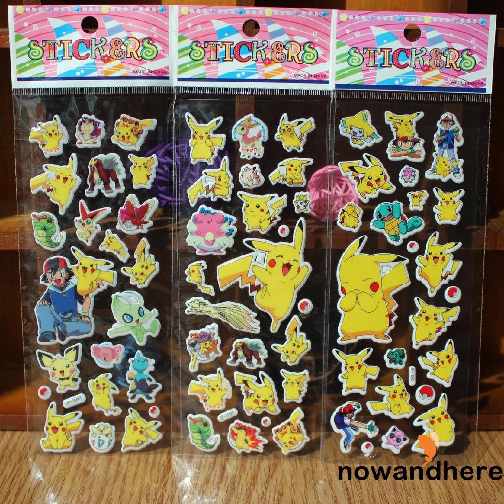 EDN-Cute Anime Pokemon Stickers Pikachu Pocket Monster Scrapbooking Wall