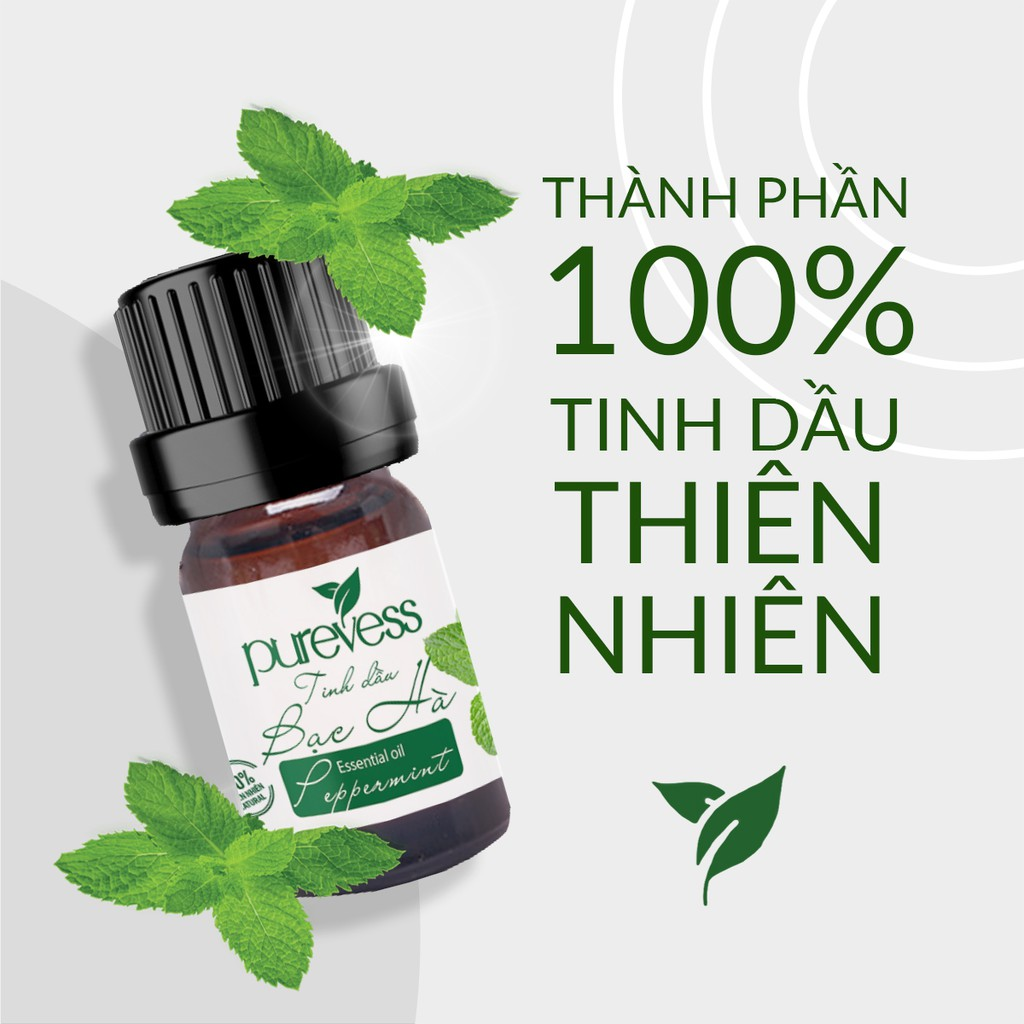Tinh dầu Bạc Hà Purevess, thiên nhiên nguyên chất, giúp thư giãn và đuổi muỗi. 10ml