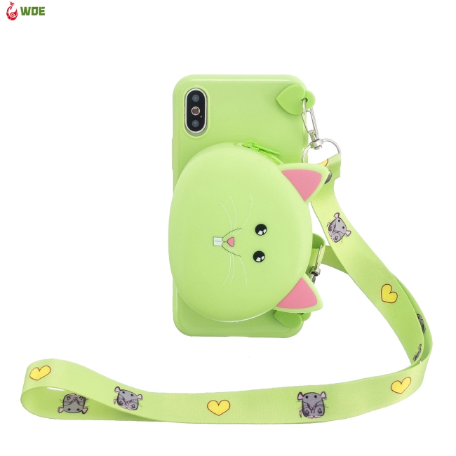 For iPhone X/XS/XR/XS Max Cellphone Case Mobile Phone TPU Shell Shockproof Cover with Cartoon Cat Pig Panda Coin Purse Lovely Shoulder Starp