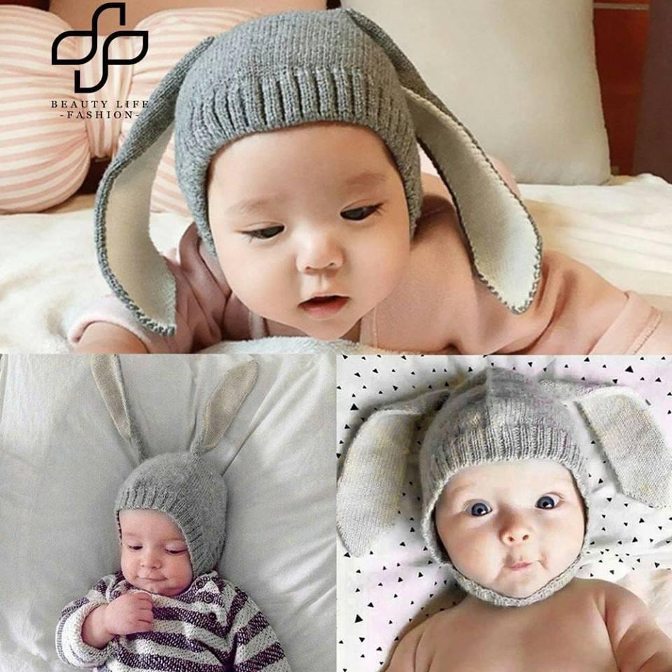 (3 màu) Mũ len tai thỏ dài cho bé
