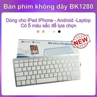 Bàn phím không dây BK1280 cho iPad, Smartphone, Laptop – Nhiều màu sắc