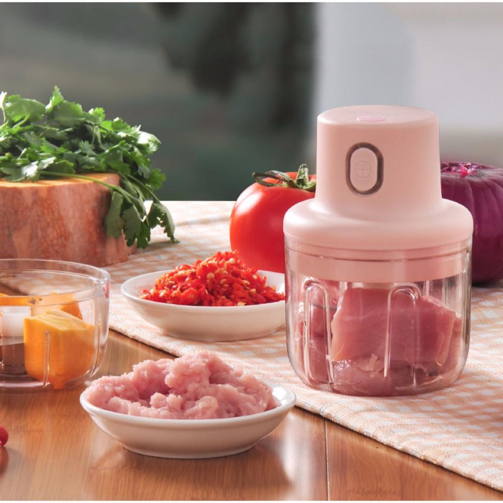 Máy xay mini đa năng sử dụng pin sạc usb, máy xay thịt, xay thực phẩm cầm tay tiện lợi