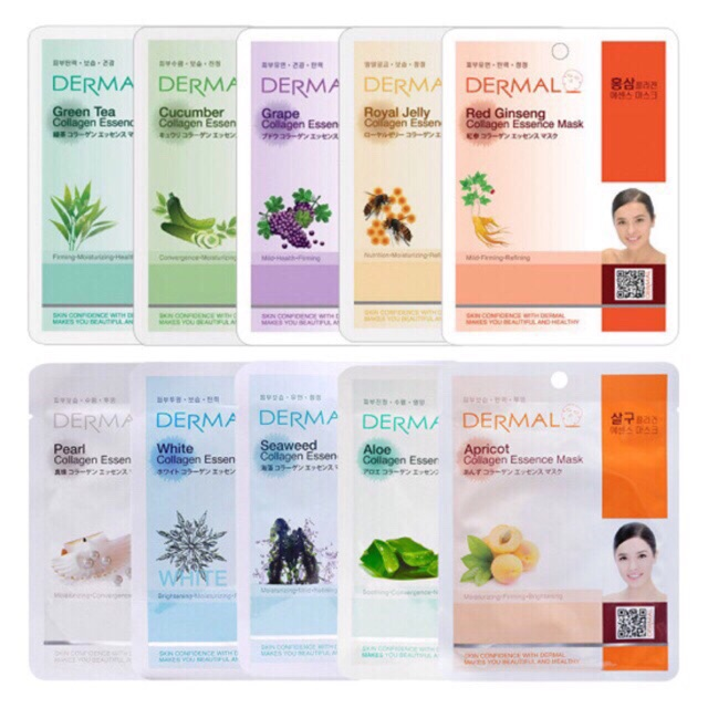 Combo 10 Mặt nạ Collagen Dermal Collagen Essence Mask Korea