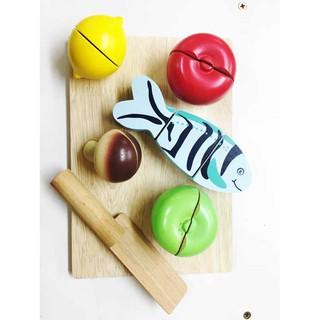 Bộ cắt cá, rau củ và nấm đồ chơi gỗ nấu ăn | Hàng xuất dư rất ít