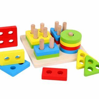 Ghép Hình Gỗ 3D trí tuệ giáo dục Montessori khối vuông thumbnail