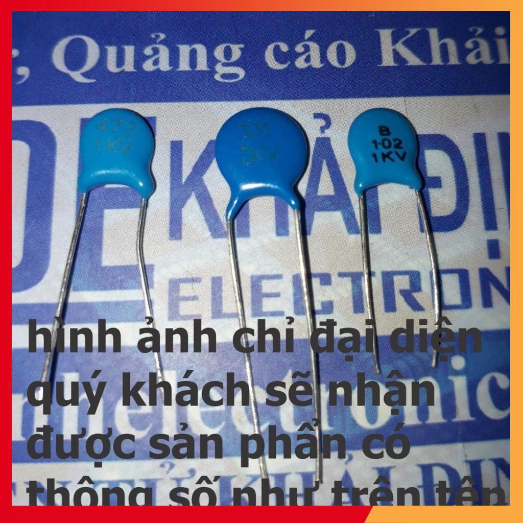 (BÁN NHANH) tụ cao áp, tụ xanh dương, tụ không phân cực (gói 50 con) 1kV/2kV  kde1707