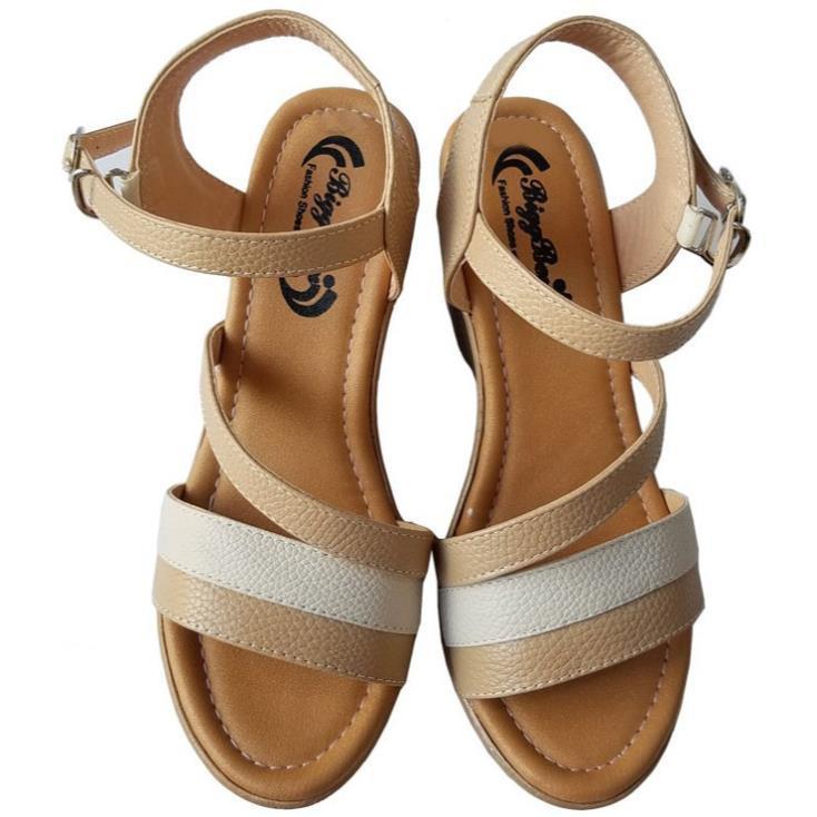 [Sale 3/3]Giày sandal xuồng nữ BIGGBEN da bò thật cao cấp HKD046 -pi9