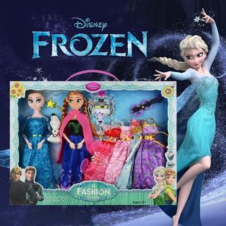 DisneyĐồ chơiCô gái đồ chơiSnow country barbie dolls toys aisha princess Anna suit big box girl love Sally