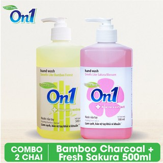 COMBO 2 chai Nước rửa tay sạch khuẩn On1 500ml hương BamBoo Charcoal và Fresh Sakura-0