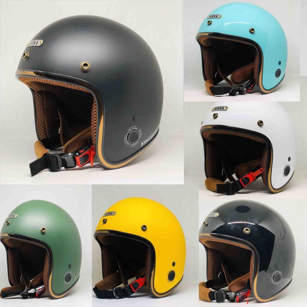 Mũ bảo hiểm 3/4 RONA 114C cao cấp - Viền Inox - Nón bảo hiểm 3/4 được bảo hành 12 tháng
