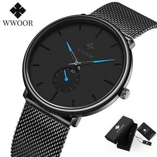 Đồng hồ Quartz WWOOR thời trang nam kháng nước dây thép không gỉ 8855