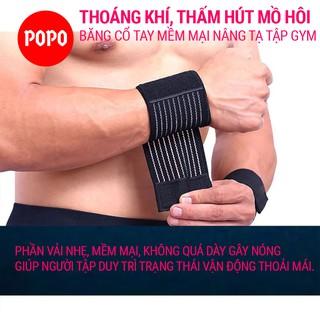 Băng cổ tay nâng tạ, tập GYM vải mềm co dãn POPOO 1128 chống chấn thương chất liệu cao cấp thumbnail