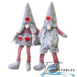 VD ❀Christmas Long Feet Gray Rudolph Doll Girl and Boy Long Beard Doll Children Gifts Home Mall Window Xmas Eve