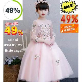 💃( 💥 SALE 49% 🎁) 😮 Đầm Công Chúa Bé Gái Hồng Dài Ren Thêu Cao Cấp 9kg - 40kg 💕💃🎁