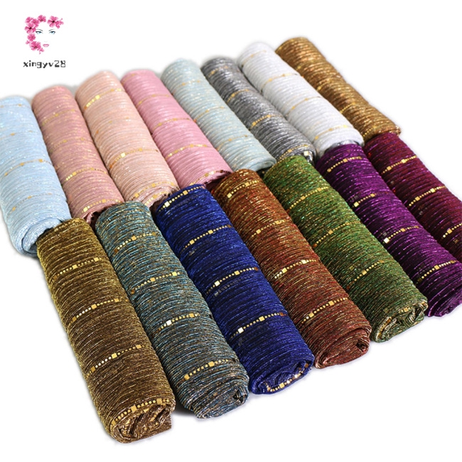 Women Thin Sequined Line Breathable Scarf Muslim Style Headscarf