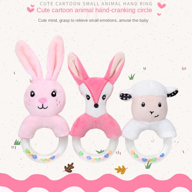 Cute Creative Cartoon Rabbit Fox Sheep Hand Ring Hand Bell Baby Plush Toy