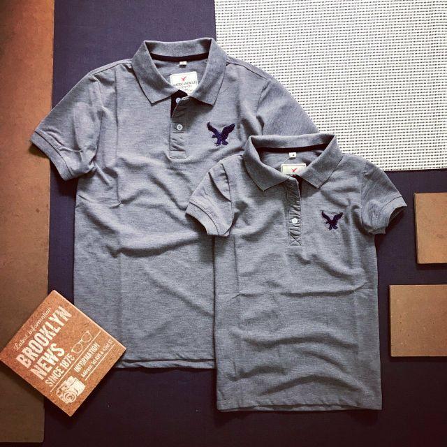 Set áo thun cặp nam nữ cổ bẻ thun cotton đủ màu