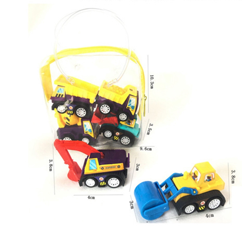 ☽6Pcs Mini Pocket Pull Back Model Plastic Car Truck Vehicle Toys For Baby Kids