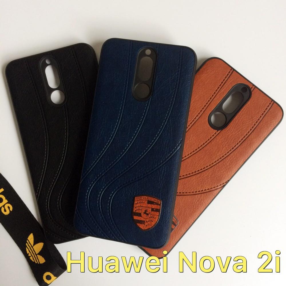 Ốp lưng dẻo mặt lưng da logo xe hơi cho Huawei Nova 2i