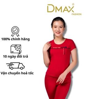 Bộ đồ mặc nhà côtton mùa hè Dmax phong cách thể thao cổ tròn quần ngố thumbnail