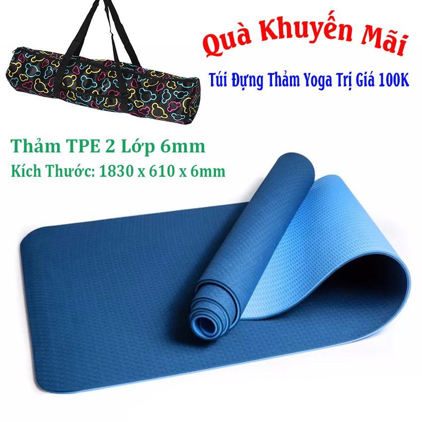 Thảm Yoga 2 Lớp TPE Xanh Dương (Tặng Kèm Túi + Dây Buộc)