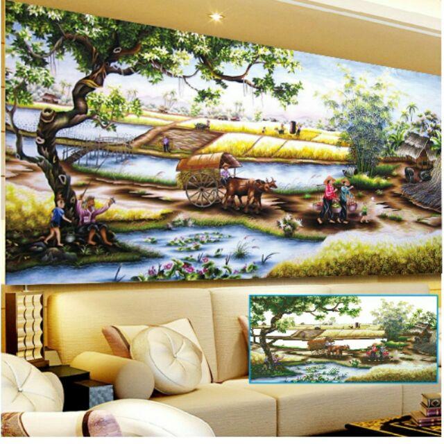 Tranh thêu phong cảnh làng quê 182x113cm