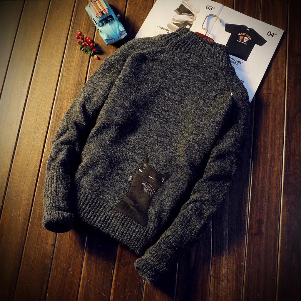 สินค้าใหม่ที่ดีจุดครึ่งปกสูงสวมใส่ด้านนอกเสื้อกันหนาวผู้ชายฤ