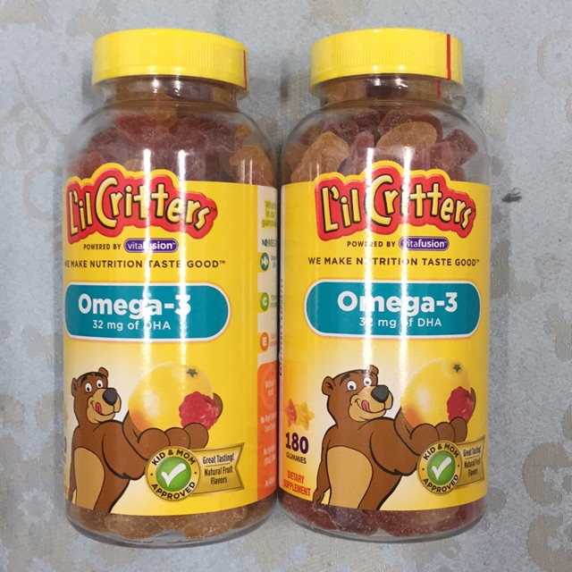 Combo 2 Chai kẹo dẻo L'll Critters Omega-3 và DHA - 180 v Date t4/2019