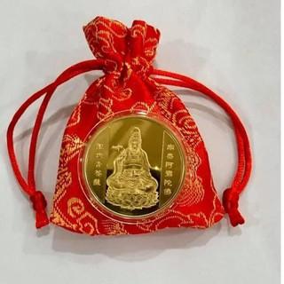 Đồng Xu Hình Phật Quan Âm Kèm Túi Gấm May Mắn Quà Tặng 2021