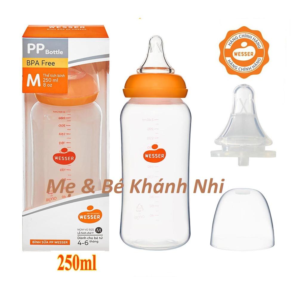 [Mã 267FMCGSALE giảm 8% đơn 500K] Bình Sữa WESSER Cổ Hẹp PP Bottle Kháng Khuẩn 250ML - Bình Sữa Cổ Hẹp Wesser 250ML