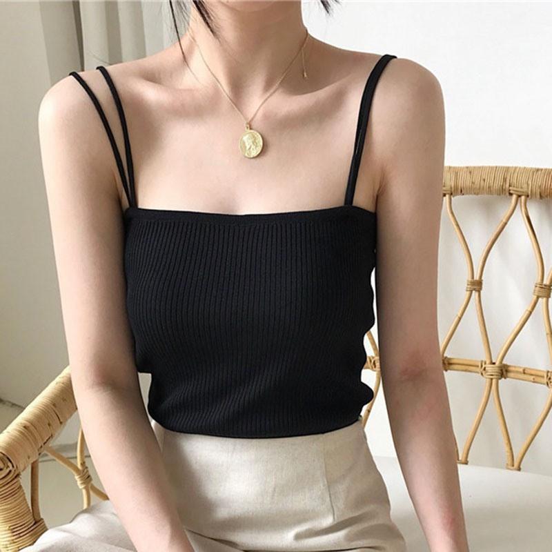 Áo 2 dây dệt kim màu trơn thời trang dành cho nữ
