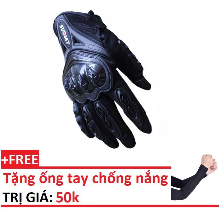Găng tay dài ngón đi phượt cảm ứng điện thoại Suomy, găng tay motor, găng tay nam đẹp giá rẻ + tặng kèm ống chống nắng