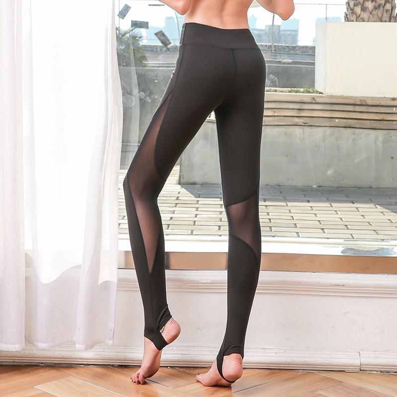 Đồ tập gym nữ, Quần tập phối lưới xỏ gót tập gym, yoga chất lượng cao