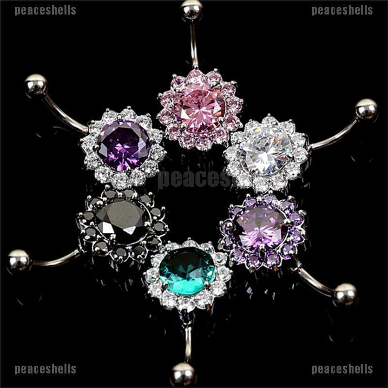 【Beauty】Stainless Steel Bar Belly Navel Ring Crystal Flower Body Piercing Women Jewelry