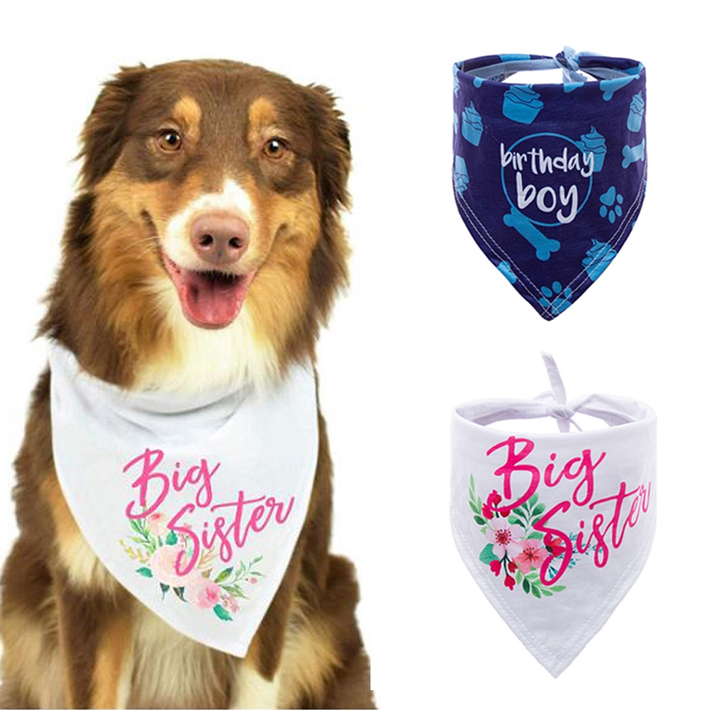 Birthday Pet Letter Polyester Decoration Triangular Dog Accessories Soft Fashion Bandana