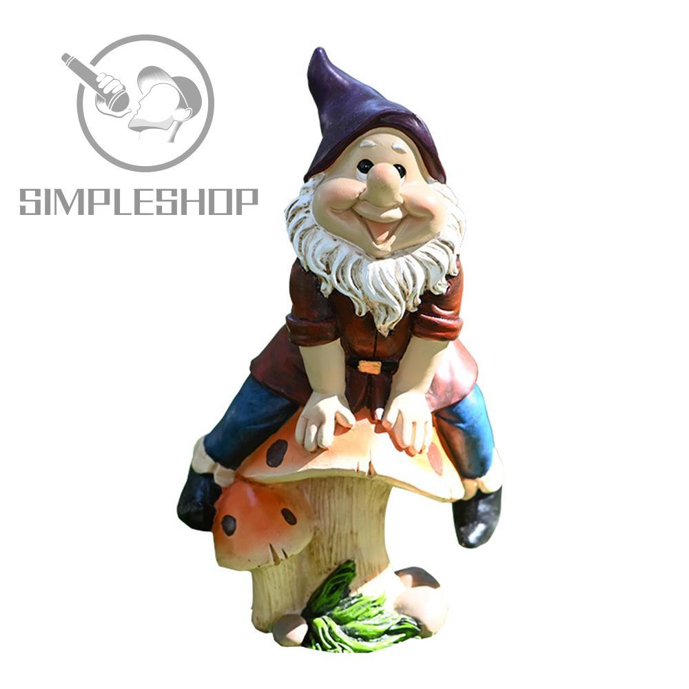 ❀SIMPLE❀ Cartoon Gnome Statue Outdoor Courtyard Sculpture Dwarf Ornament Garden Resin Funny Decoration Lawn Figurine