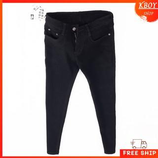 Yêu Thích+Quần jeans nam [𝐅𝐑𝐄𝐄 𝐒𝐇𝐈𝐏] Quần jean đen vải co giãn ống ôm vải mềm mịn cao cấp hợp dáng - QJ06