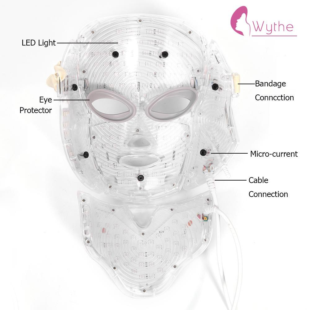New 7 Colors Photon Electric☋wythe LED Facial Mask Neck Skin Rejuvenation Massager ღbeauty
